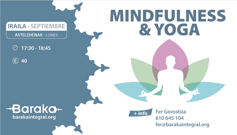 Mindfulness y Yoga septiembre Baraka