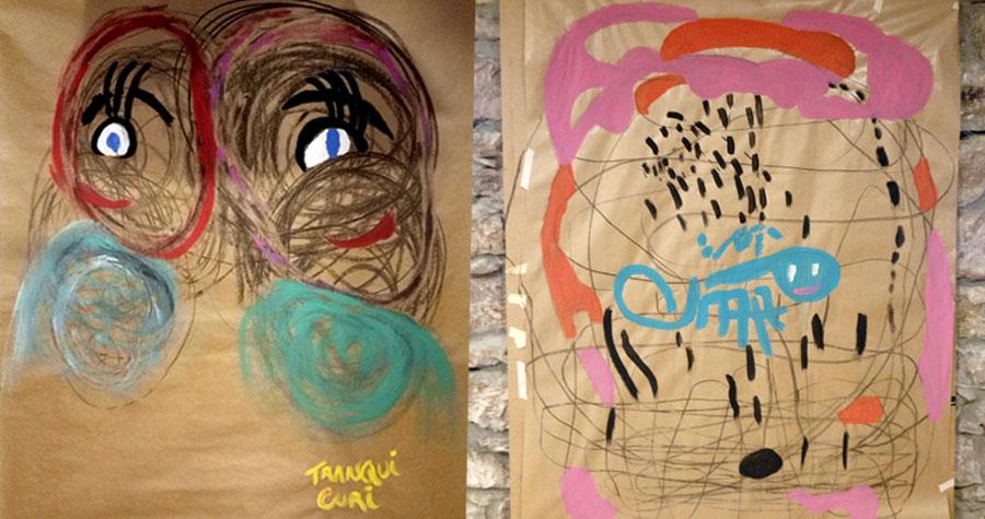 pintura gestual realizado en un taller de arteterapia en Baraka