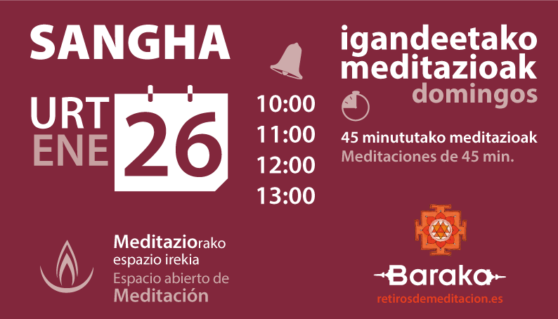 Sangha enero, espacio abierto de Meditación
