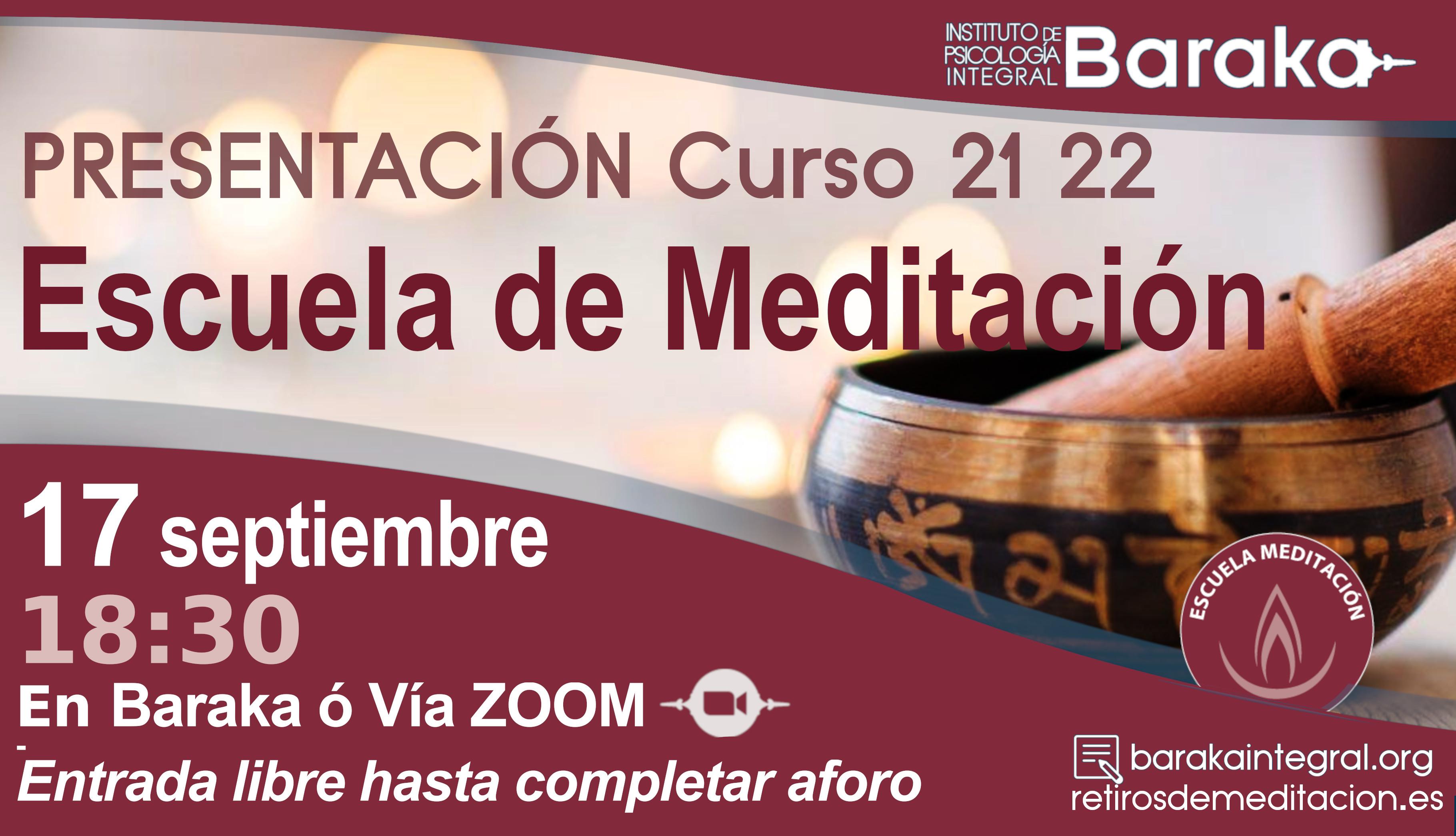 Presentación escuela de meditación curso 21 22